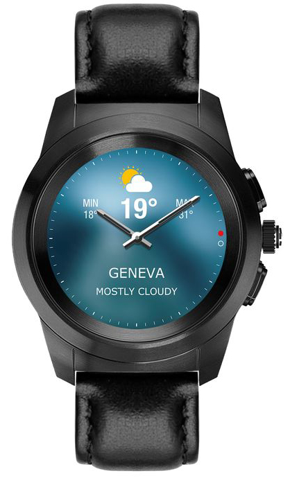 ZeTime-Premium-Brushed black-Black flat leather-Front view-Weather